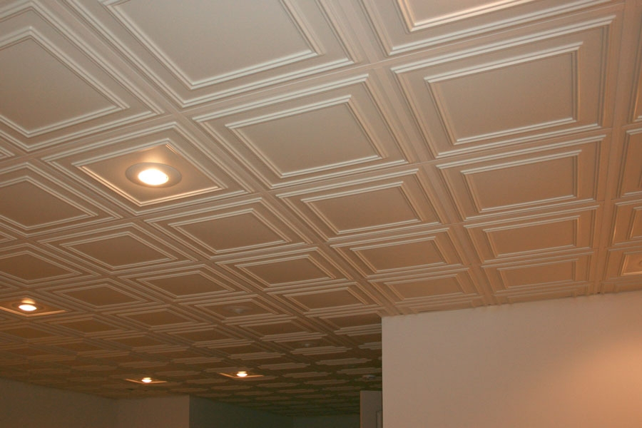Tuile de plafond suspendu ceilume cambridge 2 pi x 2 pi blanc for Double plafond suspendu